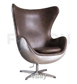 Aviator Egg Spitfire Chair Vintage Brown Leather Swivel Home, Living, Office