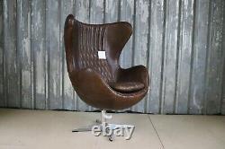 Aviator Swivel Tilt Leather Egg Chair Full Brown Leather Home Office Statement