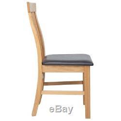 B#vidaXL 2/4/6 pcs Oak Wooden Kitchen Dining Chair Dinner Seat Home Furniture Se