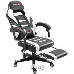 BIGZZIA LUXURY GAMING OFFICE CHAIR HOME COMPUTER DESK RECLINER CHAIR White