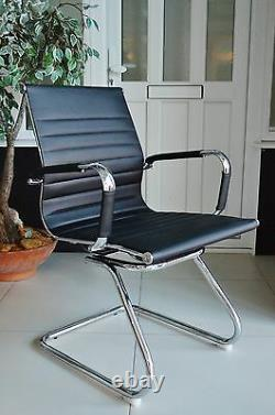 BLACK Ribbed Designer Office Reception Conference Chair Faux Leather New