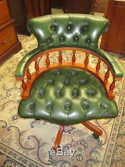 Button Back Green Leather Captain's Desk Chair In'yew' By Winchester Furniture