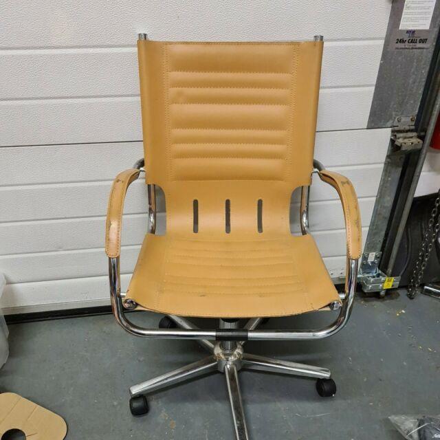 Bauhaus Faux Leather Chrome Tubular Mart Stam Rare Desk Office Chair