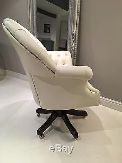 Beauty Bloggers Chair Chesterfield Swivel Office Chair White Leather Made In UK