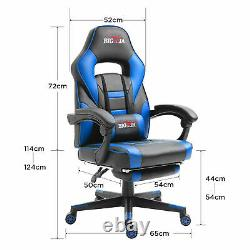 Bigzzia Luxury Gaming Office Chair Home Computer Desk Recliner Chair Blue