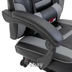 Bigzzia Office Gaming Game Chair Home Computer Desk Recliner Swivel Leather Grey