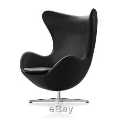 Black Egg Chair Vintage Retro Armchiar Leather living Room Office Furniture