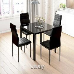 Black Glass Dining Table and 4 Padded Chairs Sets Office Home Kitchen Furniture