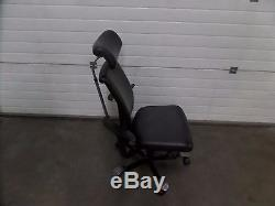 Black Leather HAG H05 Operators Chair with Arms and Headrest