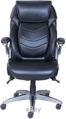 Black Leather Managers Chair Active Lumbar Polished Style Office Armchair