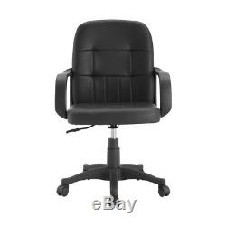 Black Mid Back Office Chairs Adjustable Faux Leather Computer Desk Chairs Modern