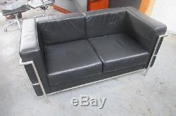 Black faux leather office / reception suite
