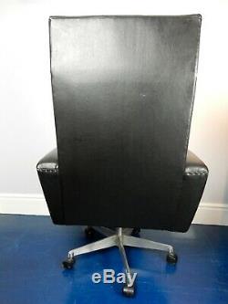Black leather vinyl mid century office desk swivel chair vintage retro mcm