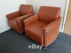 Boss Design Bentley 1 Seater Chair Brown Leather Set of 4