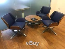 Boss Design Kruze Swivel Office Chair, Blue Leather, American Walnut Shell