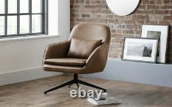 Bowery Swivel Office Chair in Brown Faux Leather