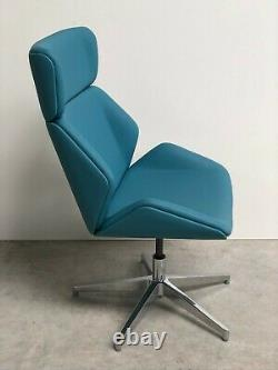 Brand New Designer Upholstered Blue Faux Leather Swivel Office Home Chair (935)