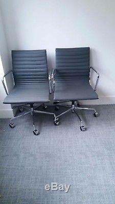 Brand New, Grey Real Leather Ribbed Eames Style Office Chairs