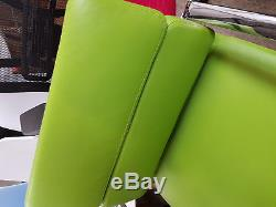 Brand New Real Leather Low Back office Chair RRP £329 Funky Green