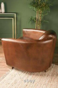 Brazilian Leather Cigar Chair Vintage Club Seat Occasional Chair Office
