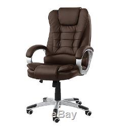 Brown 6 point Massage Office Computer Chair Luxury Leather Swivel Reclining