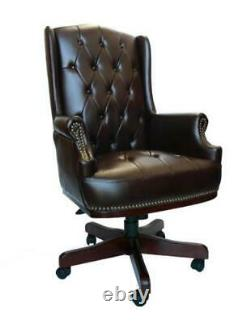 Brown Captain Leather Desk Office Chair Chesterfield High Back Managers Executiv