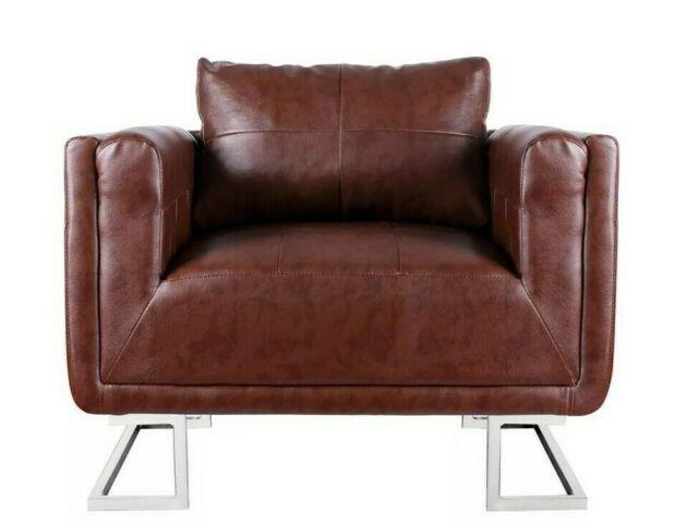 Brown Hallway Armchair Vintage Office Club Chair Retro Faux Leather Furniture