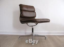 Brown Leather Charles Eames Herman Miller Soft Pad Swivel Office Chair Vintage