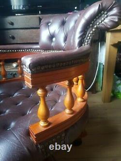 Brown Leather Chesterfield Captains Deskchair Buttoned Swivel/tilt Office Chair