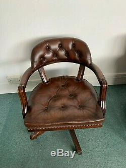 Brown Leather Chesterfield Style Captains / Office Chair vintage antique