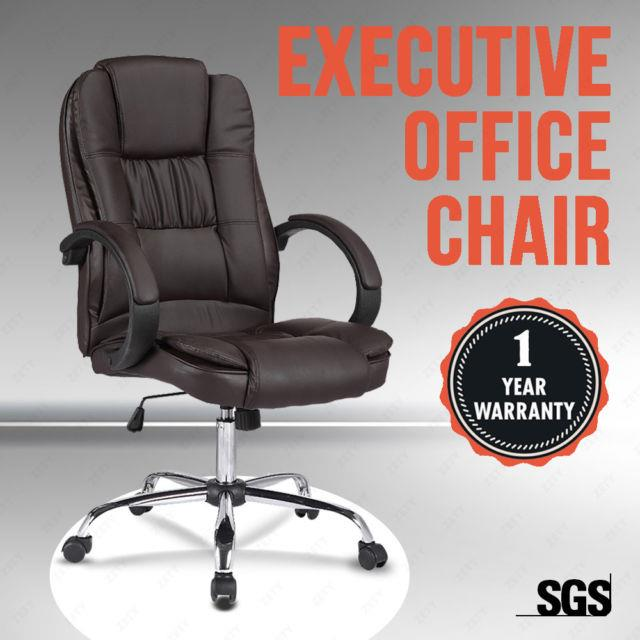 Brown Leather High Back Executive Swivel Office Chair Computer Desk Furniture