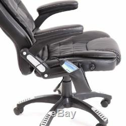 Brown Massage Heat Office Chair Computer Faux Leather Swivel Reclining Chair