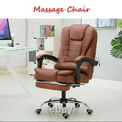Brown Massage Office Chair Gaming Computer Desk Chairs Footrest Recliner Leather
