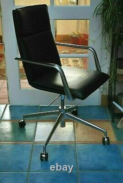 Brunner Office Chair Black Leather 2016 Swivel Finasoft 6722/a Collect Le8 Vgc