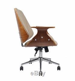 CHELSEA PADDED OFFICE CHAIR-Walnut Effect Wood W Beige Faux Leather Seat-CH56BG