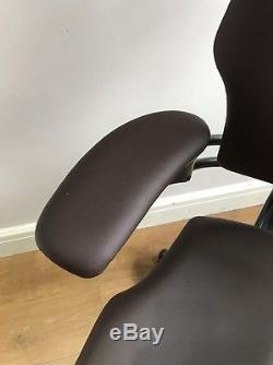 Chocolate Leather Humanscale Freedom Ergonomic Office Task Chair With Headrest