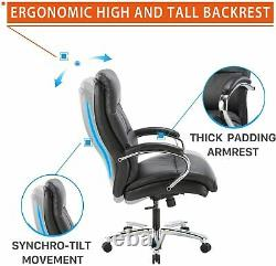 CLATINA Ergonomic Big & Tall Executive Office Chair with Bonded Leather 400lbs