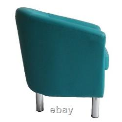Camden Leather Tub Chair Armchair Dining Room Office Reception Aqua Blue