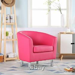 Camden Leather Tub Chair Armchair Dining Room Office Reception Bright Pink