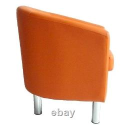 Camden Leather Tub Chair Armchair Dining Room Office Reception Orange