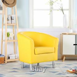 Camden Leather Tub Chair Armchair Dining Room Office Reception Yellow