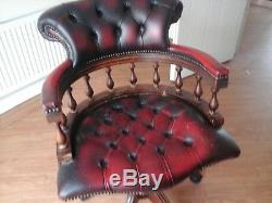 Captains Burgundy Leather Swivel Office Chair