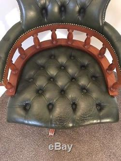 Captains Chair Chesterfield Office Chair Green Leather Delivery Available