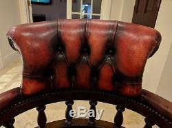 Captains Chair in Red Leather Mahogany Directors Executive Office