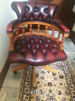 Captains Chesterfield Chair Oxblood Leather