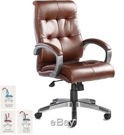 Catania Real Leather Faced Contemporary Comfortable Executive Office Chair Brown