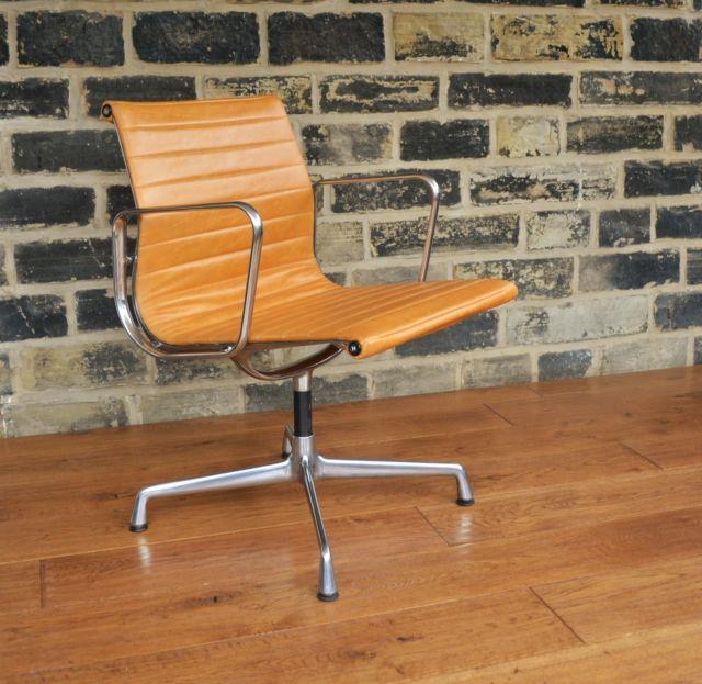 Charles Eames Ea 108 Ribbed Leather Chair / Herman Miller