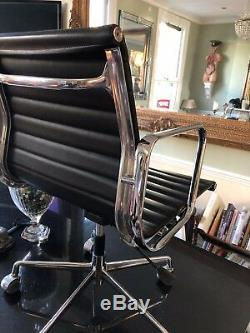 Charles Eames EA 117 by ICF Retro Black Leather Ribbed Office Task Chair