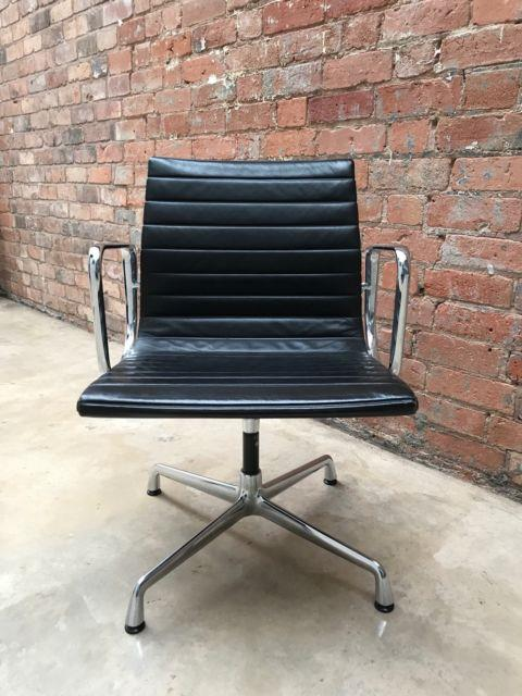 Charles Eames Genuine Ea108 Swivel Nero Leather Chair With Armrests, Chrome Base
