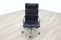 Charles Eames Soft Pad Style High Back Black Leather Task Chair